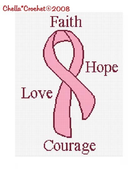 CHELLA*CROCHET Afghan Pattern Graph Breast Cancer Awareness Ribbon Faith Hope Love Courage .PDF