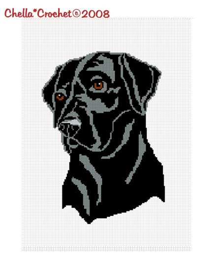 CHELLA*CROCHET Afghan Blanket Pattern Graph Black Labrador Lab Dog  .PDF