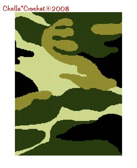 SALE see SHOP for details Chella Crochet Camouflage Camo Green Afghan Crochet Pattern Graph Chart