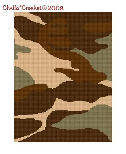 SALE see SHOP for details Chella Crochet Camouflage Camo Tan Afghan Crochet Pattern Graph Chart