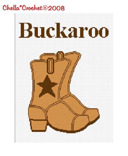 SALE see SHOP for details Cowboy Boots Buckaroo Afghan Crochet Pattern Graph
