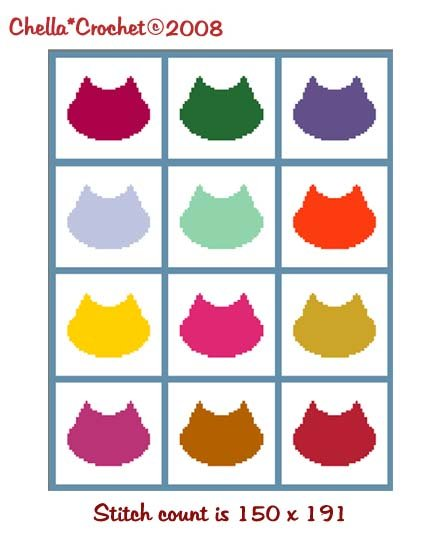 SALE see SHOP for details Cat Kitten Faces for Scraps Silhouette Afghan Crochet Pattern Graph