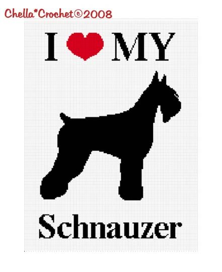 Sale See Shop for Details Chella Crochet I Love My Schnauzer Dog Afghan Crochet Pattern Graph