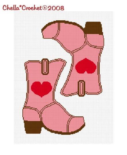 SALE SEE SHOP  Cowgirl Boots Heart Pink Flip Flopped #2 Afghan Crochet Pattern Graph