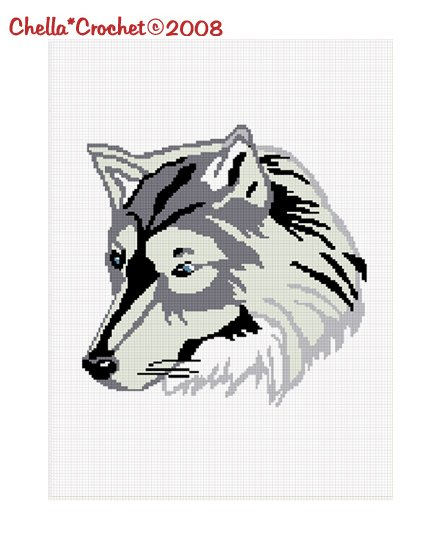 Lone Timber Wolf Afghan Crochet Pattern Graph Chart .PDF