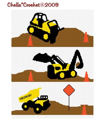 Chella Crochet Construction Area Dump Truck Bulldozer Backhoe Afghan Crochet Pattern Graph