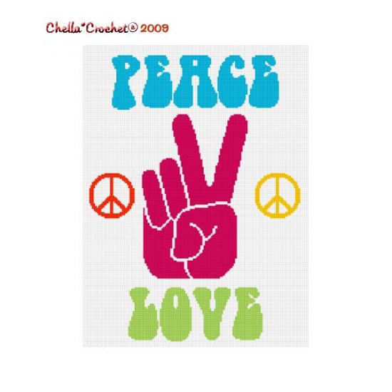 Chella Crochet Peace Love Sign Hand Afghan Crochet Pattern Graph