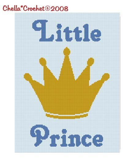 SALE see store!! Chella Crochet Little Prince Baby Crown Afghan Crochet Pattern Graph