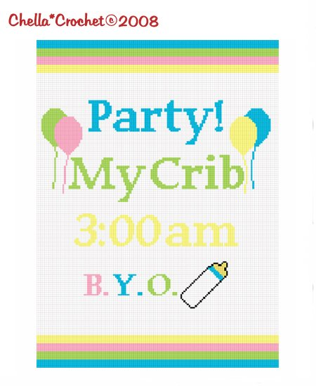 LE see store!! Chella Crochet Party My Crib Baby Afghan Crochet Pattern Graph