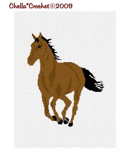 CHELLA*CROCHET Horse Stallion Mare Brown Black Afghan Crochet Pattern graph EMAILED .PDF