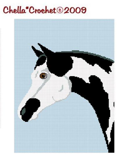 CHELLA*CROCHET Black Horse Pinto Pony Paint Afghan Crochet Pattern Graph Emailed .PDF
