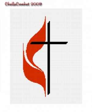 SALE see store!! Chella Crochet Methodist Cross Flame Afghan Crochet Pattern Graph