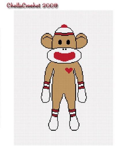 Sale See Store!! Chella Crochet Sock Monkey Afghan Crochet Pattern Graph