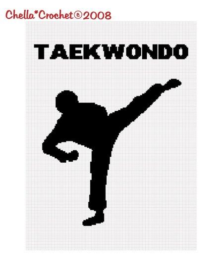 Sale See Shop Taekwondo Silhouette Afghan Crochet Pattern Graph Emailed .PDF
