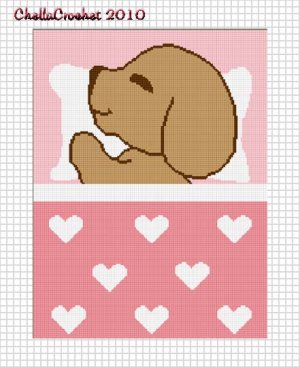 Sale See Shop Sleeping Puppy Hearts Pink Girls Baby Afghan Crochet Pattern Graph