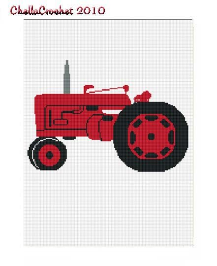 BUY 2 GET 1 FREE Chella Crochet Red Farm Tractor Afghan Crochet Pattern Graph
