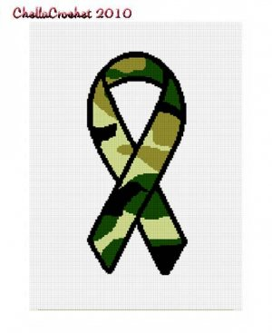 BUY 2 GET 1 FREE Chella Crochet Camouflage Support Our Troops Ribbon Afghan Crochet Pattern Graph