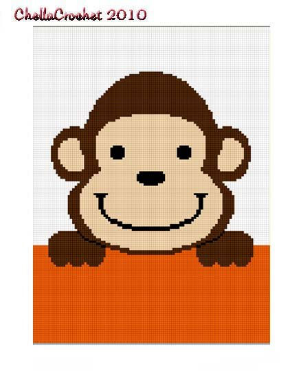 Sale See Details Hang on Monkey Baby Afghan Crochet Pattern Graph 100st