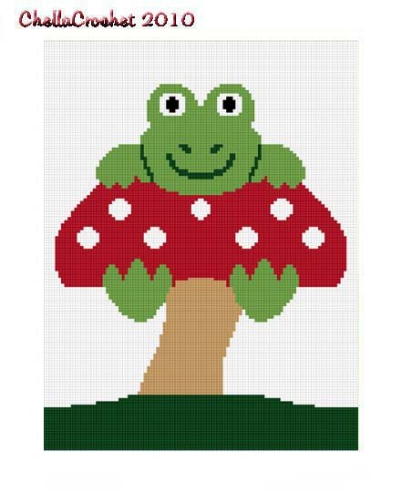 Sale See Details Frog On Mushroom Afghan Crochet Pattern Graph 100st