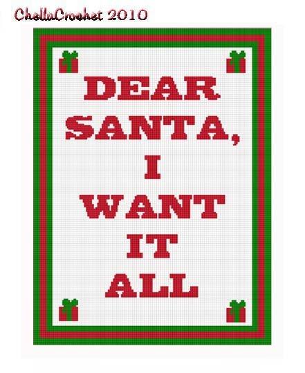 Christmas I Want It All Afghan Chella Crochet Pattern Graph