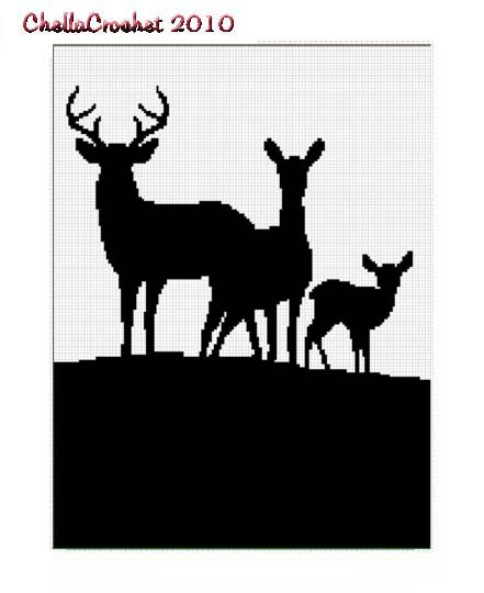Chella Crochet Deer Family Silhouette Afghan Pattern Graph