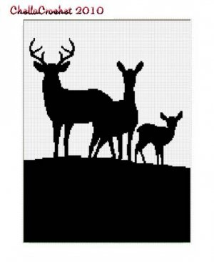 Chella Crochet Deer Family Silhouette Afghan Pattern Graph