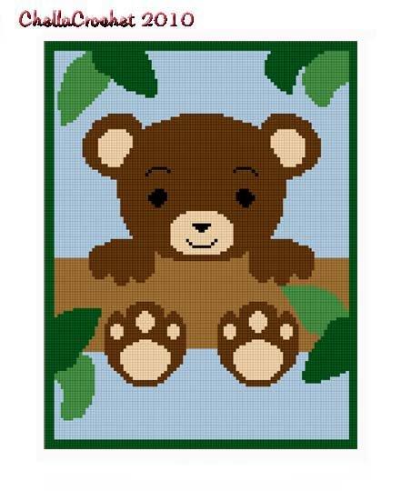 Chella Crochet Baby Teddy Bear In Tree Afghan Pattern Graph Blanket Throw