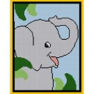 Chella Crochet SMALL Baby Elephant on Safari Jungle Afghan Pattern Graph Blanket Throw