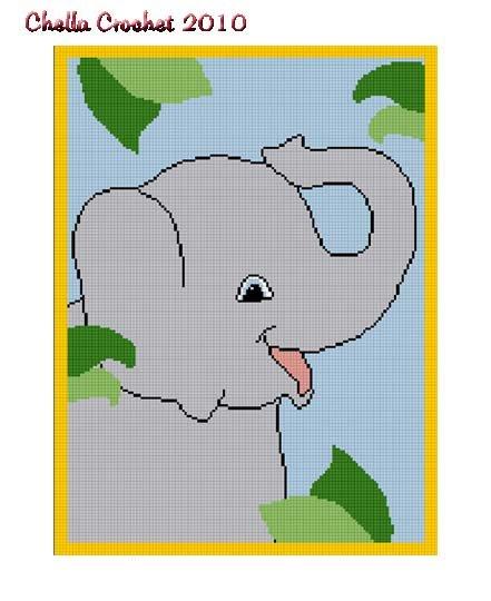 Chella Crochet LARGE Baby Elephant on Safari Jungle Afghan Pattern Graph Blanket Throw