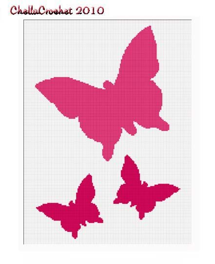 Chella Crochet Butterfly Silhouette Trio Afghan Pattern Graph Blanket Throw