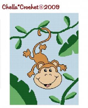 Baby Monkey Vine Tree  Afghan Crochet Pattern Graph