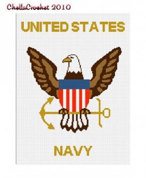 UNITED STATES NAVY Eagle Anchor Afghan Crochet Pattern