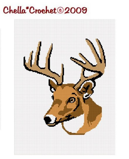 Deer Buck Stag Head Antler Afghan Crochet Pattern Graph