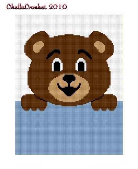 Hang on Teddy Bear Afghan Crochet Pattern Graph 100st