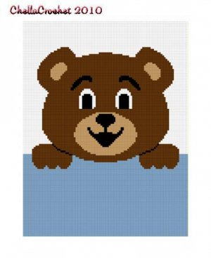 Hang on Teddy Bear Afghan Crochet Pattern Graph 100st