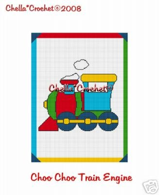 Toy Choo Train Engine Tank Afghan Crochet Pattern Graph