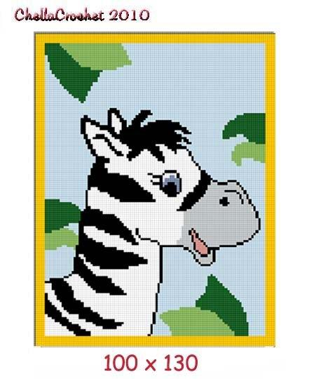 Baby Zebra in Jungle Afghan Crochet Pattern Graph 100st