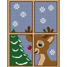 Christmas Reindeer Window Afghan Crochet Pattern Graph
