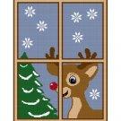 Christmas Reindeer Window Afghan Crochet Pattern Graph