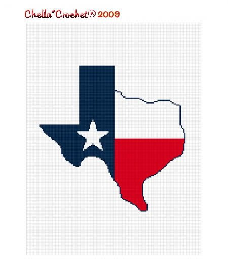 Texas Shaped Flag Star Afghan Crochet Pattern Graph