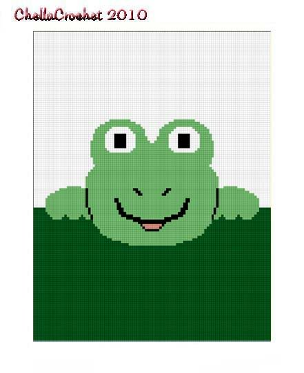 Hang on Frog Afghan Crochet Pattern Graph 100st