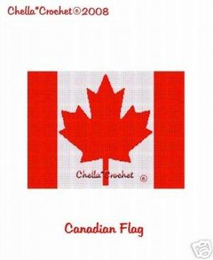 Canadian Canada Flag  Afghan Crochet Pattern Graph