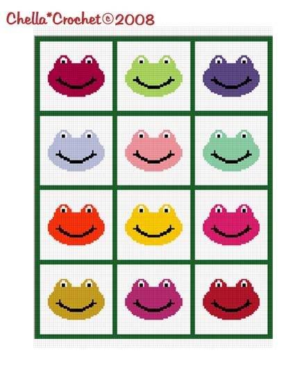 Frog Faces For Scrap Yarn Afghan Crochet Pattern