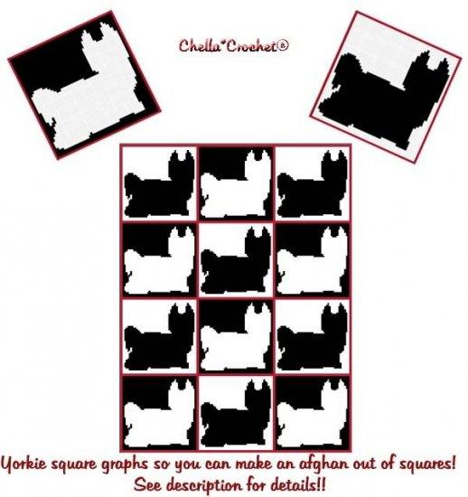 Yorkie Yorkshire Terrier Afghan Crochet Pattern Graph