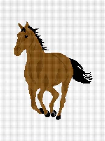 Brown Horse Stallion Mare Afghan Crochet Pattern Graph
