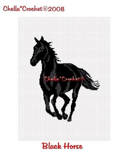 Black Horse Stallion Mare Afghan Crochet Pattern Graph