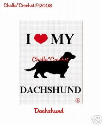 I Love My Dachshund Dog Afghan Crochet Pattern Graph