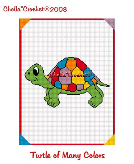 Turtle Of Many Colors  Afghan Crochet Pattern Graph