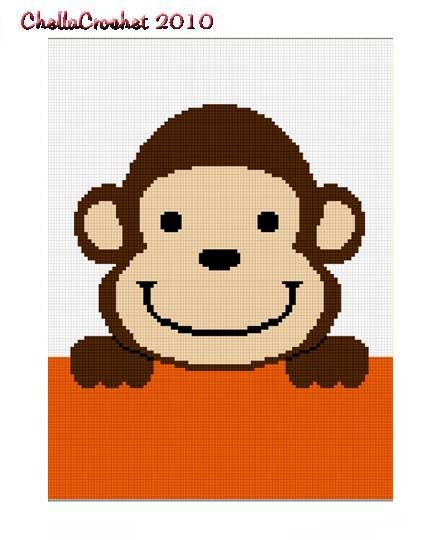 Hang on Monkey Baby Afghan Crochet Pattern Graph 100st