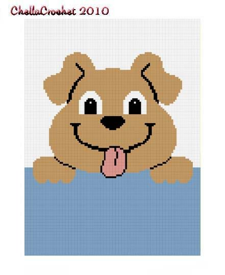 Hang on Puppy Dog Afghan Crochet Pattern Graph 100st